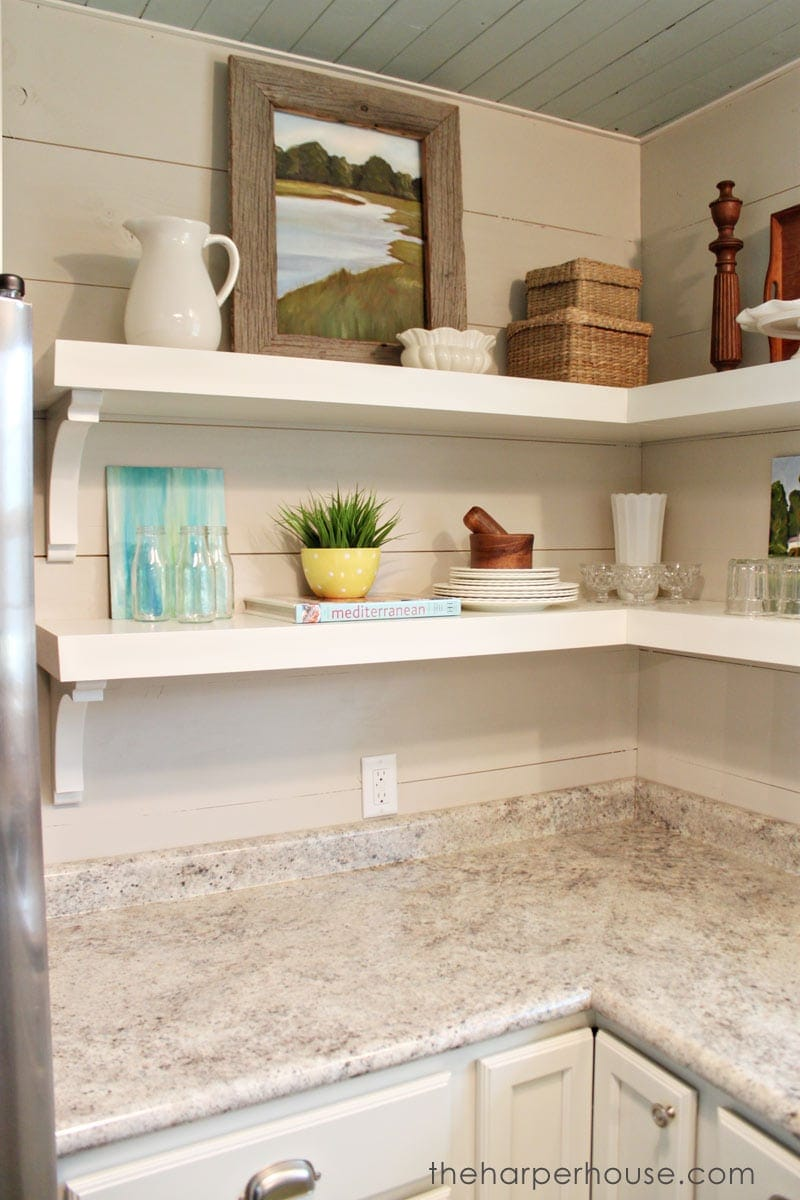 How to add fixer upper style to your home open for Kitchen cabinet shelves