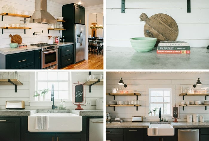 Open shelves in the Magnolia Home kitchen | The Harper House