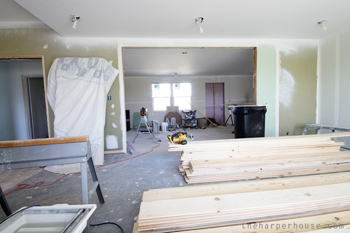 R E A L shiplap walls going up at the flip house | The Harper House