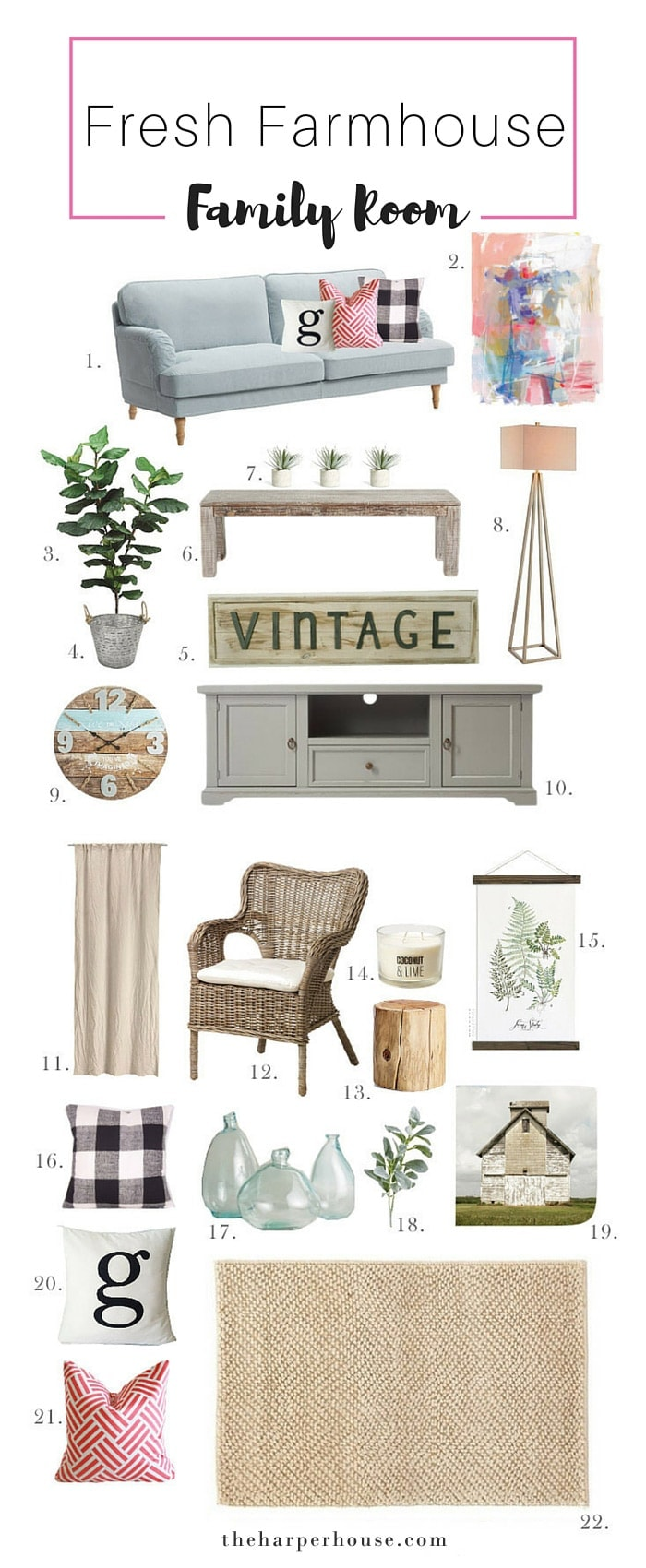 Add some #fixerupper style and a pop of color with mood boards! This fresh #farmhouse family room mood board is perfect for spring. Sources & links listed on the blog | theharperhouse.com
