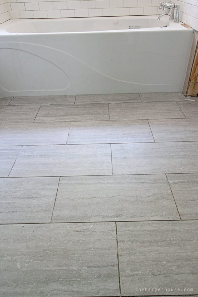 new tile floors from Floor & Decor in the Master Bath of the Flip House | theharperhouse.com