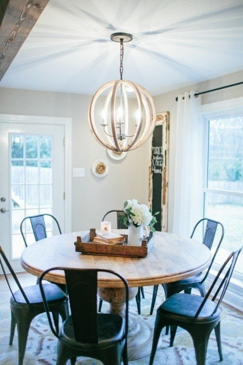 Round Dining Tables Affordable Options The Harper House - Round kitchen light fixtures